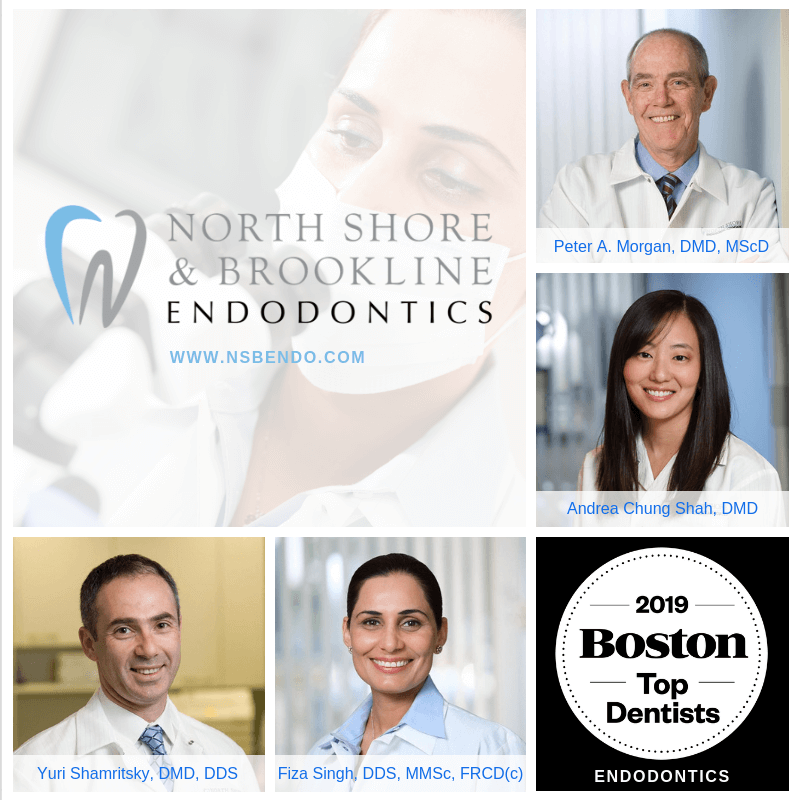 2019 Top Dentists in Boston with headshots of doctors Morgan, Shah, Singh, and Shamritsky