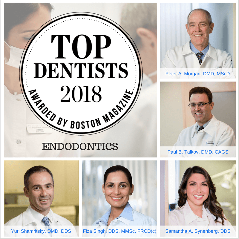 2018 top dentists in boston with headshots of doctors Morgan, Talkov, Synenberg, Singh, and Shamritsky